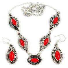 Red blood coral 925 sterling silver earrings necklace set jewelry j2351