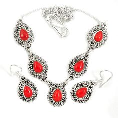Red blood coral 925 sterling silver earrings necklace set jewelry j9488