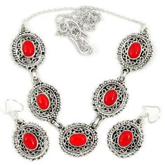 Red blood coral oval 925 sterling silver earrings necklace set jewelry j2353