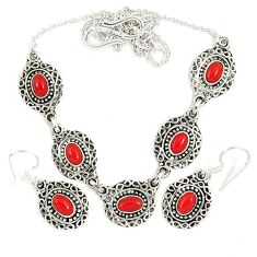Red blood coral oval 925 sterling silver earrings necklace set jewelry j9490