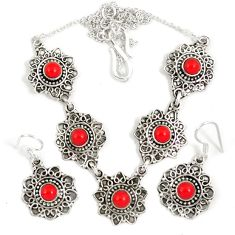 Red coral round 925 sterling silver earrings necklace set jewelry j9509
