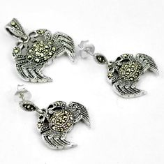 Swiss marcasite 925 sterling silver crab pendant earrings set jewelry h48169