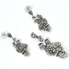 Swiss marcasite owl 925 sterling silver pendant earrings set jewelry h48173