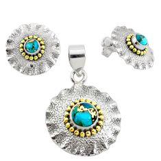 Victorian blue copper turquoise 925 silver two tone pendant earrings set p44588