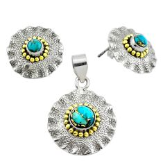 Victorian blue copper turquoise 925 silver two tone pendant earrings set p44589