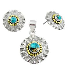 Victorian blue copper turquoise 925 silver two tone pendant earrings set p44590