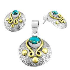 Victorian blue copper turquoise 925 silver two tone pendant earrings set p44673