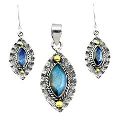 Victorian natural blue labradorite silver two tone pendant earrings set p44600