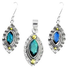 Victorian natural blue labradorite silver two tone pendant earrings set p44615