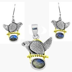 Victorian natural blue labradorite silver two tone pendant earrings set p44660