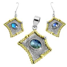 Victorian natural blue labradorite silver two tone pendant earrings set p44692