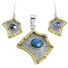 Victorian natural blue labradorite silver two tone pendant earrings set p44693