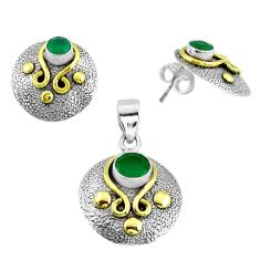 Victorian natural chalcedony 925 silver two tone pendant earrings set p44671