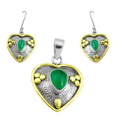Victorian natural green chalcedony silver two tone pendant earrings set p44623