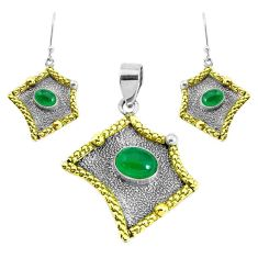Victorian natural green chalcedony silver two tone pendant earrings set p44686