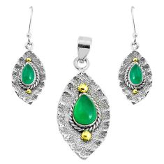 Victorian natural green chalcedony silver two tone pendant earrings set p44706