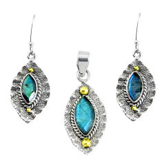 Victorian natural labradorite 925 silver two tone pendant earrings set p44616