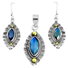 Victorian natural labradorite 925 silver two tone pendant earrings set p44617