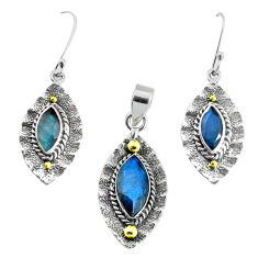 Victorian natural labradorite 925 silver two tone pendant earrings set p44619