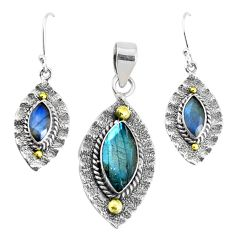 Victorian natural labradorite 925 silver two tone pendant earrings set p44620