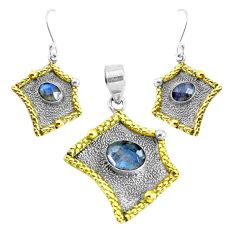 Victorian natural labradorite 925 silver two tone pendant earrings set p44691