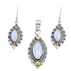 Victorian natural moonstone 925 silver two tone pendant earrings set p44607