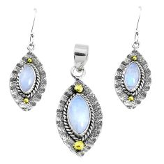 Victorian natural moonstone 925 silver two tone pendant earrings set p44608