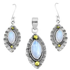 Victorian natural moonstone 925 silver two tone pendant earrings set p44609