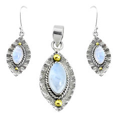 Victorian natural moonstone 925 silver two tone pendant earrings set p44613