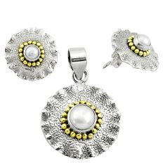 5.23cts victorian natural pearl 925 silver two tone pendant earrings set p44583