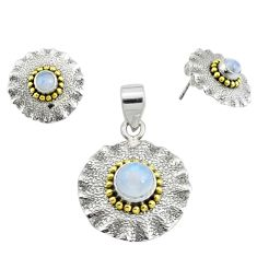 Victorian natural rainbow moonstone silver two tone pendant earrings set p44593
