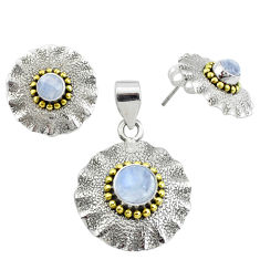 Victorian natural rainbow moonstone silver two tone pendant earrings set p44594