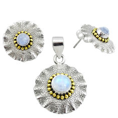 Victorian natural rainbow moonstone silver two tone pendant earrings set p44596