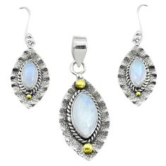 Victorian natural rainbow moonstone silver two tone pendant earrings set p44598