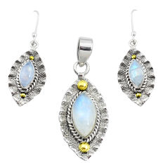 Victorian natural rainbow moonstone silver two tone pendant earrings set p44599