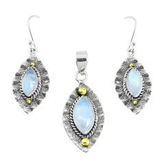Victorian natural rainbow moonstone silver two tone pendant earrings set p44614