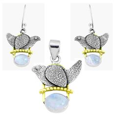 Victorian natural rainbow moonstone silver two tone pendant earrings set p44652