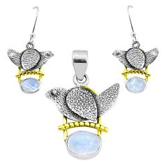 Victorian natural rainbow moonstone silver two tone pendant earrings set p44654