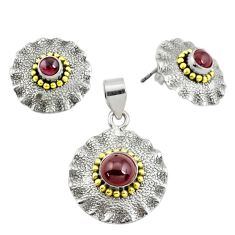 Victorian natural red garnet 925 silver two tone pendant earrings set p44584