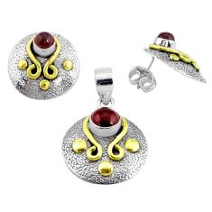 Victorian natural red garnet 925 silver two tone pendant earrings set p44666