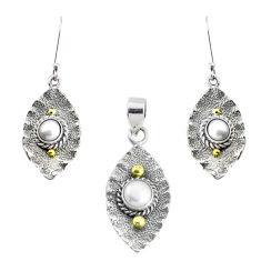 Victorian natural white pearl 925 silver two tone pendant earrings set p44605