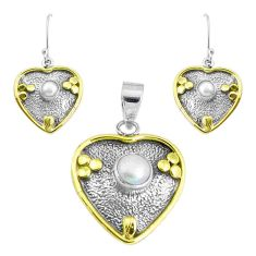 Victorian natural white pearl 925 silver two tone pendant earrings set p44625