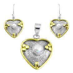 Victorian natural white pearl 925 silver two tone pendant earrings set p44628