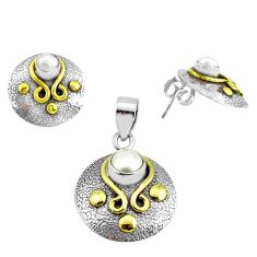 Victorian natural white pearl 925 silver two tone pendant earrings set p44670