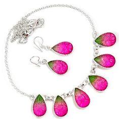 Watermelon tourmaline quartz 925 sterling silver earrings necklace set h89509